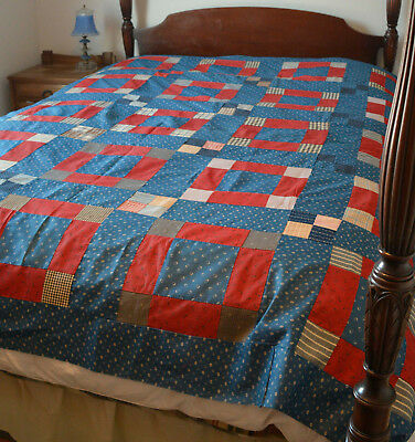 "Wonderful Antique late-19th Century Quilt Top Country Blue and Red 80"" x 82"""