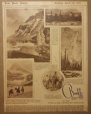 1931 Banff Springs Hotel In The Thrilling Canadian Rockies Ad