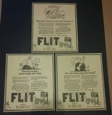 1926 Flit Insect Spray 3 Ad Standard Oil Company New Jersey Fly, Mosquito