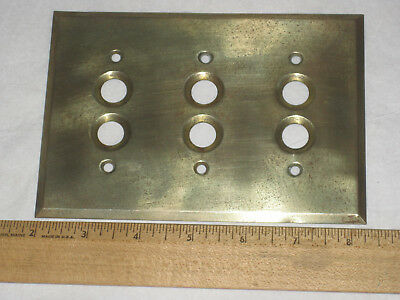 Vintage Brass Antique Triple Push Button Wall Light Switch Plate Cover 3 gang