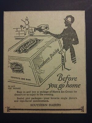 1926 Southern Dairies Horn's Ice Cream Ad