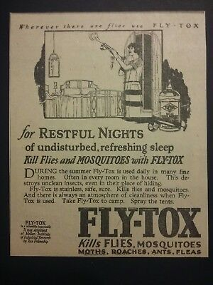 1926 Fly-tox Insect Spray Ad Flies, Mosquitoes Rex Fellowship