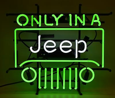 Wrangler  Bright Green Licensed real neon Sign Only in a Jeep  Willy Since 1941