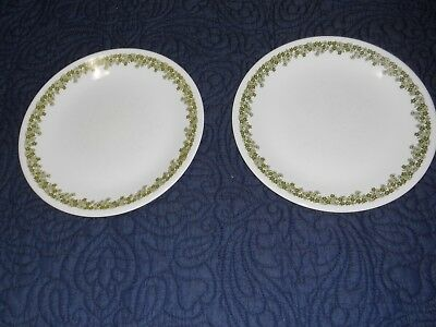 LOT of 2 Vintage Corelle Spring Blossom Green/Crazy Daisy LUNCH Plates