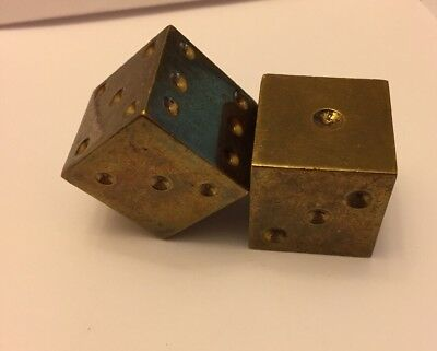 Vintage Solid Brass Dice LARGE 1 Inch Gambling Luck