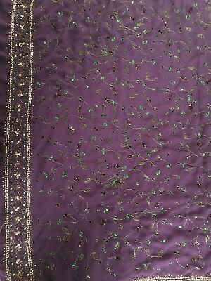 Saree with stitched blouse —Georgette embroidered with beadwork/sequins-purple
