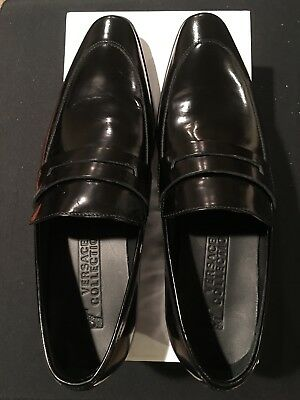 Men's Versace Spazzolato Penny loafers Color Blk Size 11