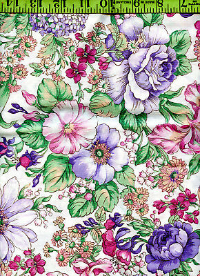 Large Floral Flowers Calico Print Quilt Quilting 100% Cotton Fabric 1+ Yd!