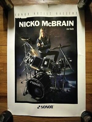 NICKO MCBRIAN - SONOR DRUMS PROMOTIONAL POSTER - VINTAGE - 17 x 25