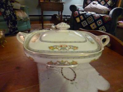 J & G Meakin 1920's Covered Serving Dish 391413 Floral Swag Sol Ware