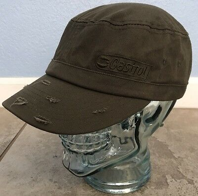 Castrol Motor Oil Strapback Hat Army Green Cap Distressed Bill Helm 100% Cotton