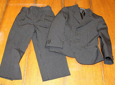 Amherst Collection boys 3t black and white pinstripe two piece suit EUC