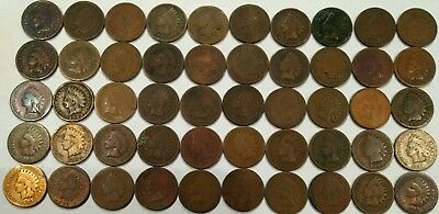 (ROLL of 50) 1880's mixed INDIAN HEAD CENTS. low grade, quality problems (lot#1)