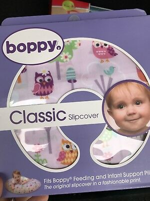 NIB Boppy Pillow Cover Slipcover Classic OWLS AND FLOWERS! SMOKE & PET FREE HOME