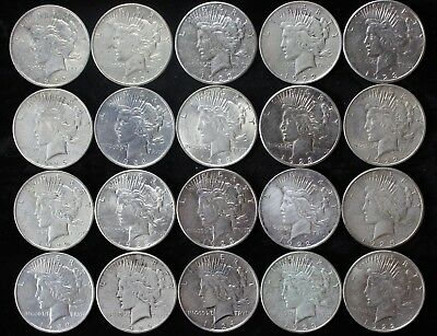 20x P D S Peace 90% Silver Dollar Lot Roll $20 Mixed $1 Dollars Old US Coins K4