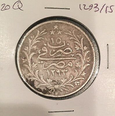 Egypt 20 Piasters 1293/15 AH Silver Crown