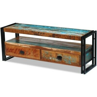 120cm Recycled Solid Wood Rustic 2 Seater 2 Drawer Storage Bench Shelf Table