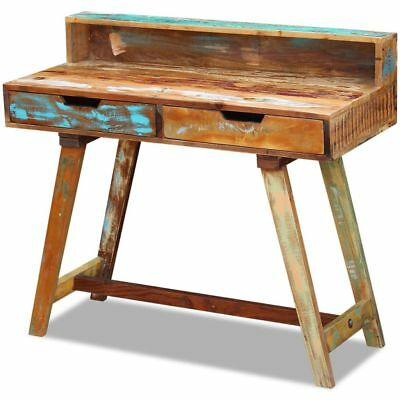 100cm Recycled Wood Vintage Retro Rustic Look 2 Drawers Home Office Desk Table