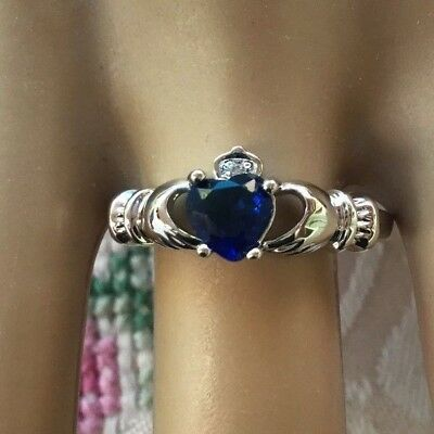 Antique Vintage White Gold Claddagh Ring size 7 or O Sapphire Blue Heart stone