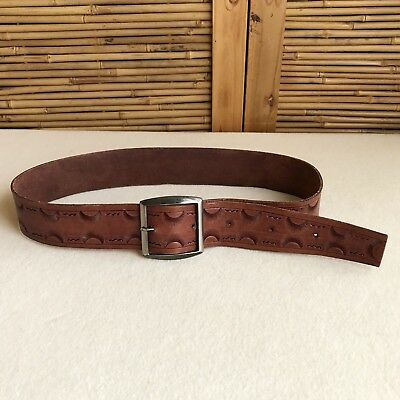 "Vintage 70s TAN Brown COWHIDE Tooled LEATHER Cowboy WESTERN Wide BELT 32"" - 36"""