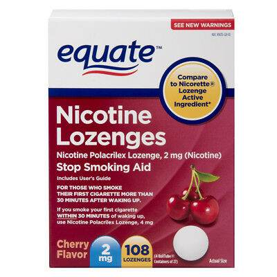 Equate Nicotine Lozenges, Cherry Flavor, 2 mg, 108 Count