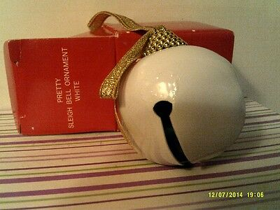Rare Vtg Avon  Pretty Sleigh Bell Ornament- White -New In Box-Free Shipping