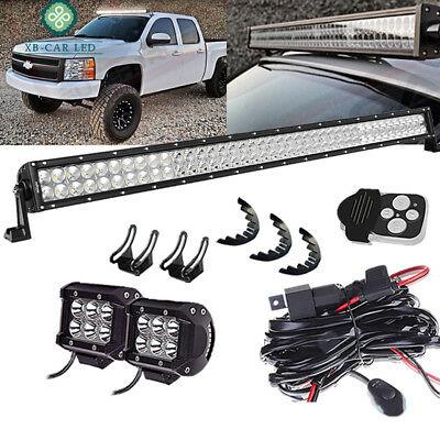 "40"" LED Light Bar+CUBE PODS+Rubber Isolator+Wire For Chevrolet Avalanche Jeep JK"
