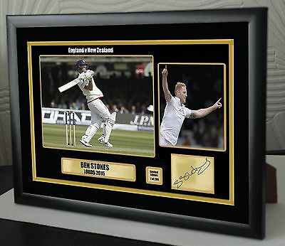 """Ben Stokes England & Durham Cricket Framed Canvas Tribute Signed   """"Great Gift"""""""