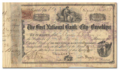First National Bank of the City of Brooklyn Stock Certificate (1865)