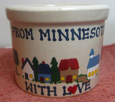 """Decorative Pottery Crock, """"From Minnesota With Love"""", R.R.P. Co, Colorful Design"""