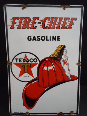 Old Texaco Fire Chief Gasoline Porcelain Gas Station Pump Sign