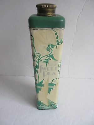 Vtg 1930's Sweet Pea LANDER Talcum Powder Tin Lithographed GREAT GRAPHICS!