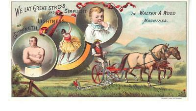 Antique Trade Card Walter A. Wood Machines Man Horses Mower Field Baby Boxer