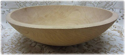 """Large Maple Wood Turned Bread Dough Mixing Bowl 13 3/8"""" OD"""