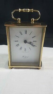 Woodford Grand Brass Quartz Carriage Clock - Gold in colour