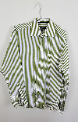 Mens Green Tommy Hilfiger Vtg Retro Athletic Long Sleeve Striped Shirt Vgc S/m