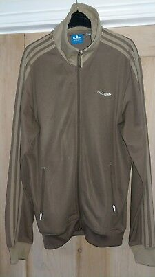 Adidas vintage style light brown retro track top - large