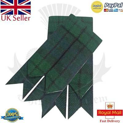 Men's Scottish Kilt Hose Sock Flashes Black Watch Tartan Garter Pointed/Highland