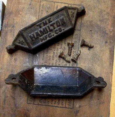 2 Antique Hamilton Mfg. Cast Iron Letterpress Printer Cabinet Drawer Pulls