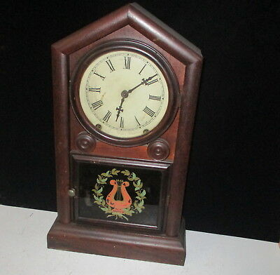 Clean New Haven Rosewood Veneer Shelf Clock - 8 Day Time And Strike -Great Dial