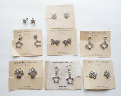 Lot of 8 Pairs Vintage Rhodium Finished Genuine French Marcasite Earrings NOS