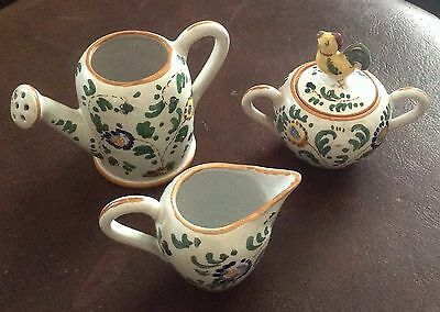 Italian Art Pottery Set, Vintage Creamer, Sugar Bowl, Watering Can, Hand-Painted