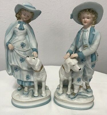 SET OF 2 Andrea By Sadek 7191 - Girl And Boy With Dogs Figurines - Blue & White