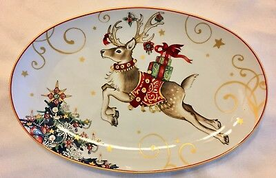 """WILLIAMS SONOMA TWAS THE NIGHT BEFORE CHRISTMAS 14"""" OVAL PLATTER New Stock Plate"""