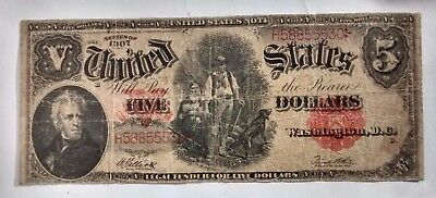 1907 $5 Five Dollar Bill ( Woodchopper ) United States Note Red Seal.