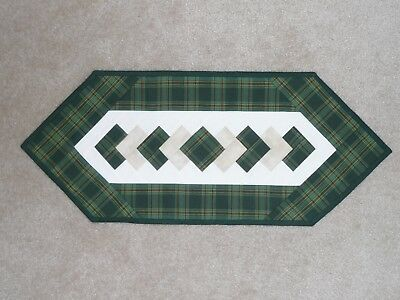 Handmade Quilt table runner, Longaberger Traditions Green Plaid, St. Patrick Day
