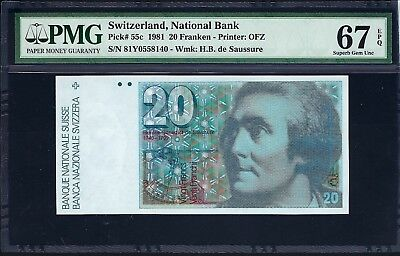 Switzerland 1981 P-55c PMG Superb Gem UNC 67 EPQ 20 Franken