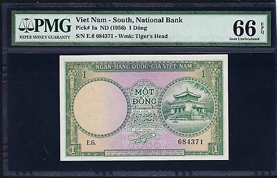 South Vietnam ND (1956) P-1a PMG Gem UNC 66 EPQ 1 Dong