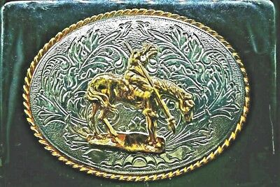"""NEW Belt BUCKLE END OF THE TRAIL Indian 3.5"""" Oval 24K Gold & Sterling Silver"""