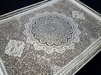 Fine Quality Antique Middle Eastern Persian Islamic Low Grade Solid Silver Tray